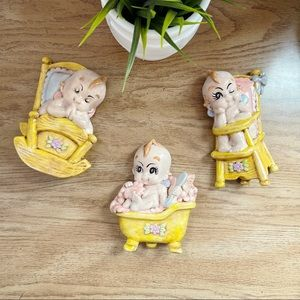Vintage Chalkware 3-pc Baby Wall Deco